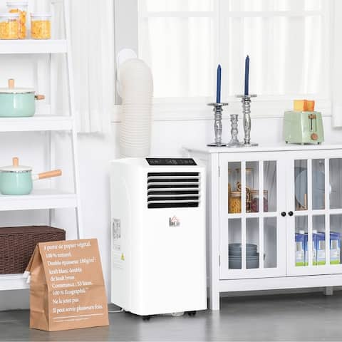 HOMCOM 10000 BTU Portable Mobile Air Conditioner with Remote, LED Display, 2 Speed Fan, 24-Hour Timer - 14''x13.5''x27.5''