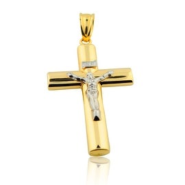 10K Yellow Gold Cross with Crucifix Two Tone 58mm Tall