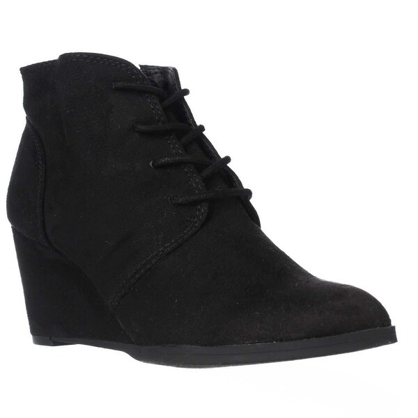 AR35 Baylie Lace Up Wedge Booties, Black/Black - 8 w us