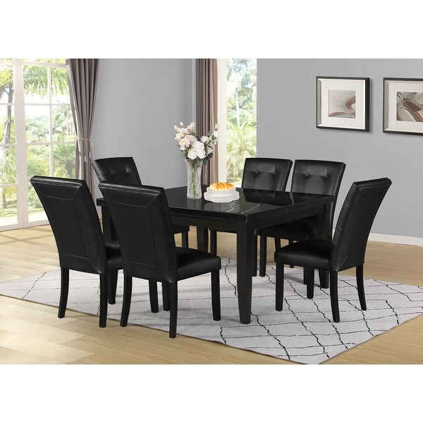 Porch & Den Merkem Square Black Marble Top 7-Piece Dining Set. Opens flyout.