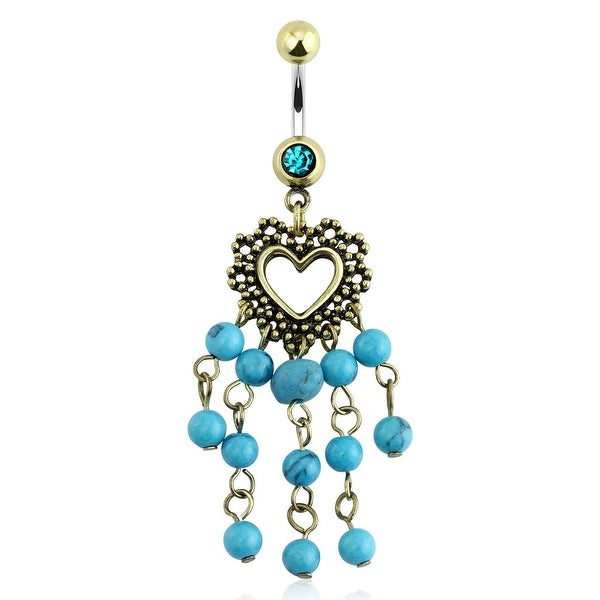 "Vintage Navel Belly Button Ring with Heart & Turquoise Stone - 14GA 3/8"" Long (Sold Ind.)"