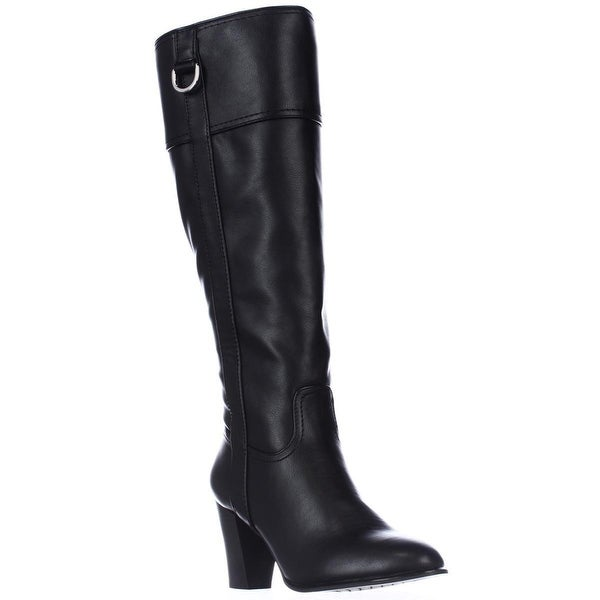 A35 Carcha Knee Heeled High Boots, Black