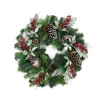 Pre-Decorated Frosted Pinecone and Berry Artificial Christmas Wreath - 24 inch, Unlit - green