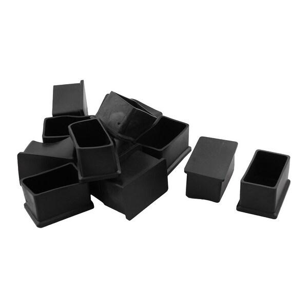 Unique Bargains 12 Pcs Antislip Rubber Rectangle 30mm x 50mm Chair Foot Cover Table Furniture Leg Protector Black