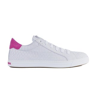 Dsquared2 Womens White Snakeskin Embossed Leather Sneakers
