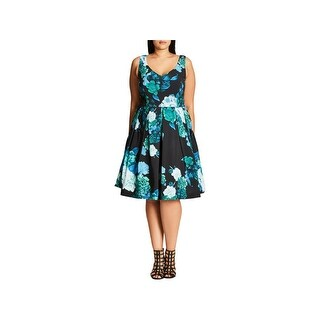 City Chic Womens Cocktail Dress Floral Print Sleeveless