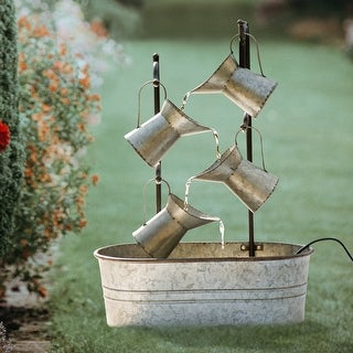 """Link to Glitzhome 33.25""""H Farmhouse Galvanized Metal Pitchers Fountain Similar Items in Outdoor Decor"""