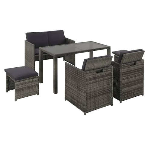 vidaXL 6 Piece Outdoor Dining Set with Cushions Poly Rattan Gray Chair Table