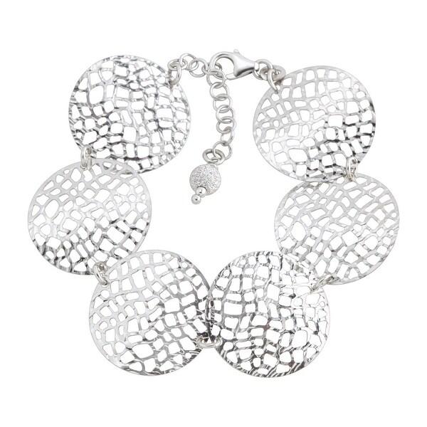 Circular Textured Mesh Link Bracelet in Sterling Silver - White