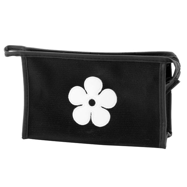 Traveling Polyester Flower Pattern Single Layer Cosmetic Container Bag Black