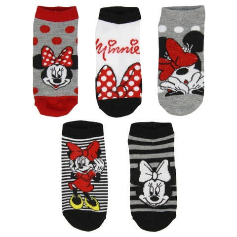 Disney Girls Minnie Mouse Dots Bows Autograph Ankle No Show Socks 5 Pairs 6/8