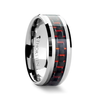 AURELIUS Tungsten Band Inlaid with a Black & Red Carbon Fiber Ring