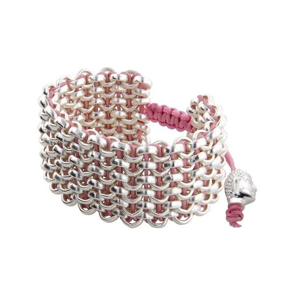 Links Women's Pink Six-Row Bracelet in Sterling Silver Plate