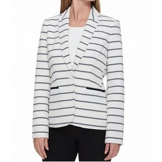 Tommy Hilfiger White Women's Size 8 Textured Striped Jacket