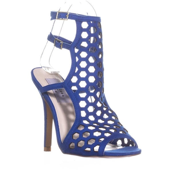 Chelsea & Zoe Elita Caged Dress Sandals, Blue - 6 us
