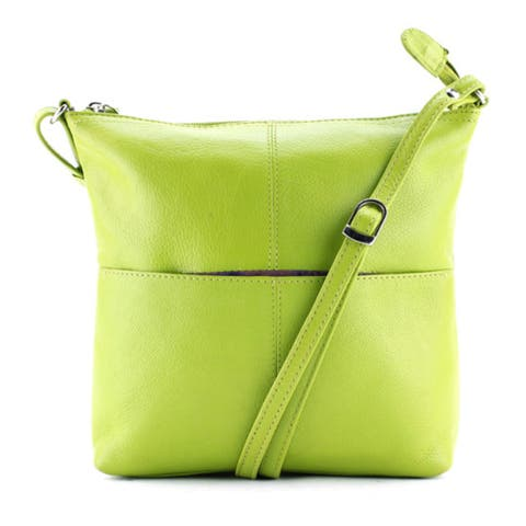 Leather Crossbody bag with Cell Phone Pocket Lime
