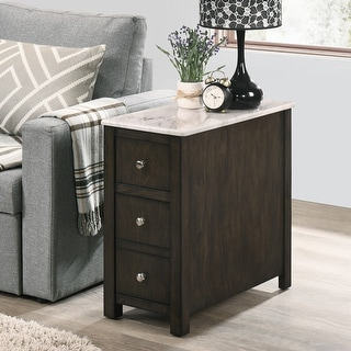 Copper Grove Cashero 3-drawer Dark Walnut Side Table with Smooth Faux Marble Top