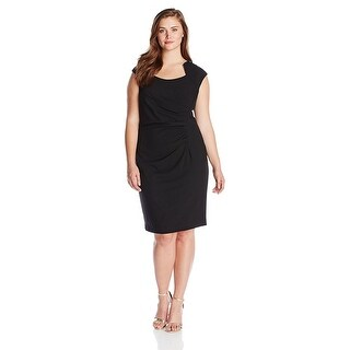 Calvin Klein Plus Size Cap Sleeve Side Rouched Sheath Dress