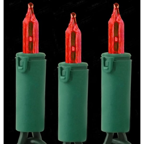 Set of 50 Dura-Lit Red Mini Christmas Lights 5.5 Inch Spacing - Green Wire
