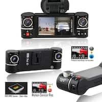 "Indigi 2017 HD Dash Cam DVR @ 30fps + 2.7"" LCD + Dual Rotating lens + File Protection"