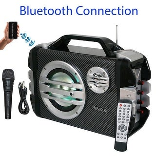 Boytone BT-51M Portable Audio karaoke Bluetooth PA Speaker System with Microphone, FM Radio, USB Port MP3 AUX ports, built in