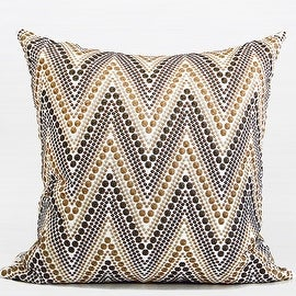 """G Home Collection Luxury Metallic Big Chevron Embroidered Pillow 20""""X20"""""""