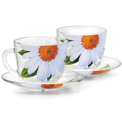 STP-Goods Daisies Durable Glass Tea Cup and Saucer Set of 2