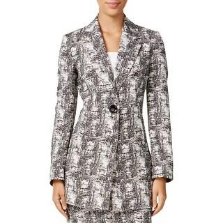 Kasper Womens Plus Long Coat Jacquard Textured