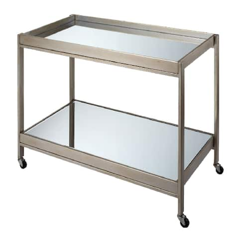 "36.25"" Champagne Metal Elegant Stella Rectangular Bar Cart"