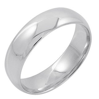 Oxford Ivy Men's 10K White Gold 6mm Comfort Fit Plain Wedding Band (Available Ring Sizes 8-12 1/2)