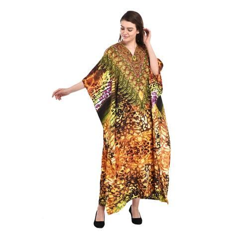 Women Summer Caftan Dress Printed Long Maxi Beach Cover Up Polyester Sleeve Hem Dresses Ladies Loose Fit Sleepwear