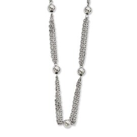 Chisel Stainless Steel Multi-strand with Beads 28in Necklace - 28 in