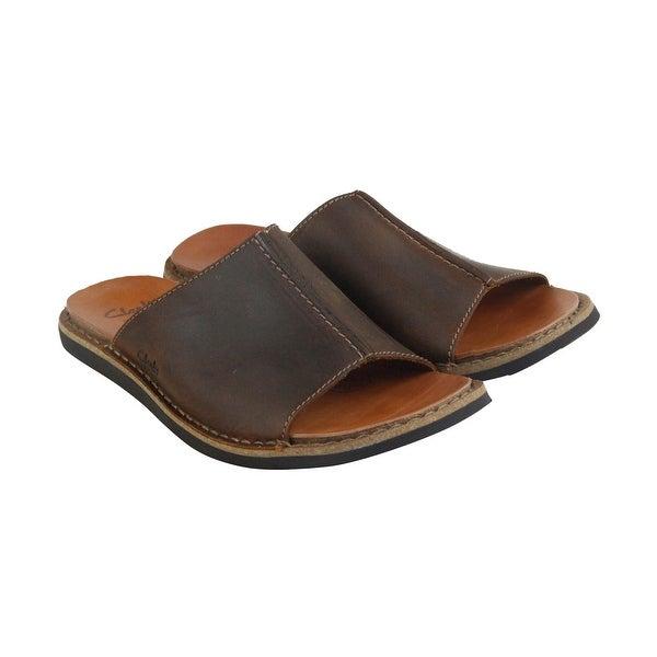 Clarks Lynton Slide Mens Tan Leather Flip Flops Slip On Sandals Shoes