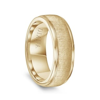 14k Yellow Gold Vertical Finish Raised Center Polished Round Edges Men S Wedding Ring By Diana 7 5mm