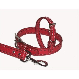 A Pets World Leather Dog Collar- Red-Chocolate Saddle Stitch