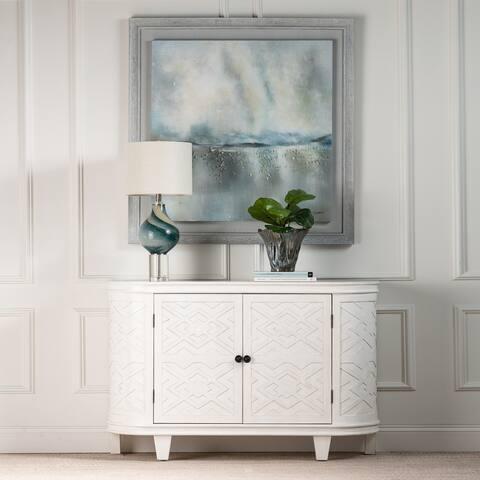 "Estate 54""W White Pine Curved Fretwork Credenza w Adjustable Shelf - 34'' H x 54'' W x 14'' D"