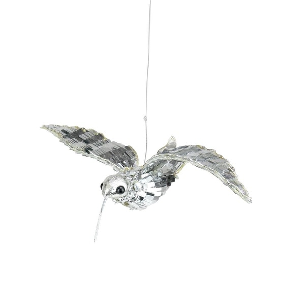 "7.5"" Sparkling Silver Sequin Hummingbird Christmas Ornament"