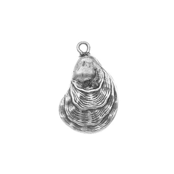 Nunn Design Antiqued Silver Plated Oyster Shell Charm 25mm (1)