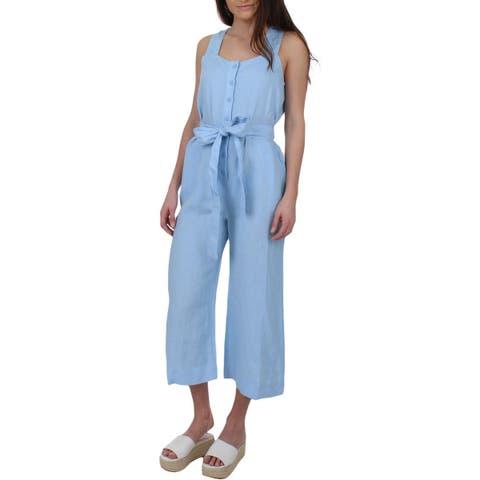 Juicy Couture Black Label Womens Jumpsuit Linen Cropped