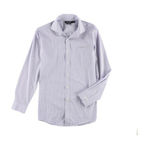 """Ralph Lauren Mens Stretch Button Up Dress Shirt bluewhite 16 1/2 - 16.5"""" Neck 34""""-35"""" Sleeve"""