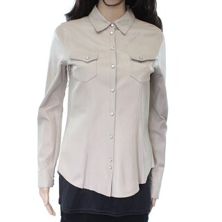 Eleventy NEW Beige Women's Size 4 Snap Button Down Shirt Leather