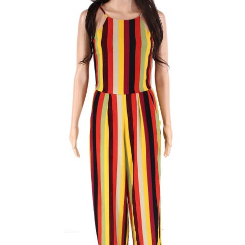Moa Moa Juniors Jumpsuit Black Size Small S Halter Striped Colorblock