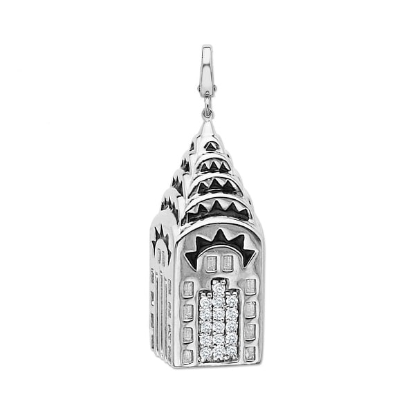 Manhattan Collection: Chrysler Building Charm in 14K White Gold with Black Enamel and Diamonds