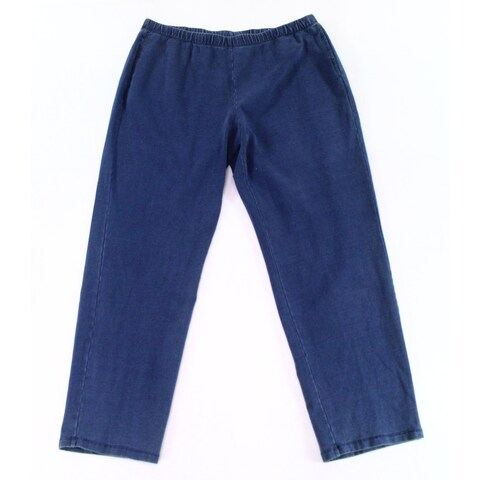 ruby Rd. Blue Womens Size 1X Plus Pull-On Stretch Casual Pants