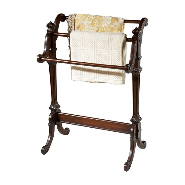 Traditional Distressed Wooden Blanket Stand in Plantation Cherry Finish - Dark Brown - N/A