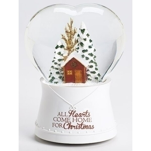 "Set of 2 Musical All Hearts Come Home for Christmas Heart Shaped Glitterdome 6.75"" - WHITE"