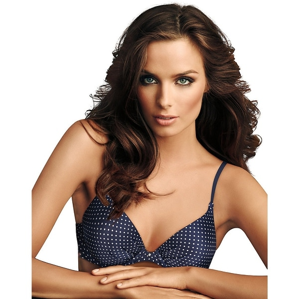 b689f54eeab31 Shop Maidenform® Comfort Devotion® Tailored Plunge Push-Up Bra - Color -  Navy W White Dot - Size - 34C - Free Shipping On Orders Over  45 -  Overstock.com - ...