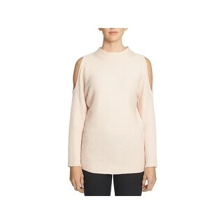1.State Womens Pullover Sweater Ribbed Cold Shoulder - S