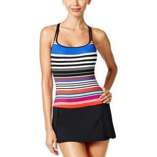 Jag Womens Striped Cross Back One Piece Swim Dress Medium M Coral Swimwear