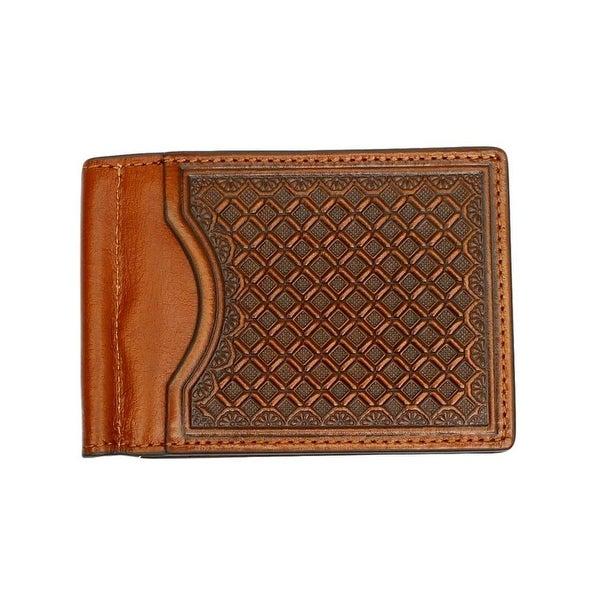 Nocona Western Wallet Mens Money Clip Leather Embossed Tan